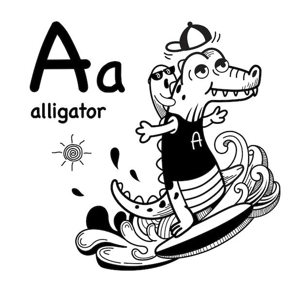 Alfabet letter a alligator in de hand getrokken Premium Vector