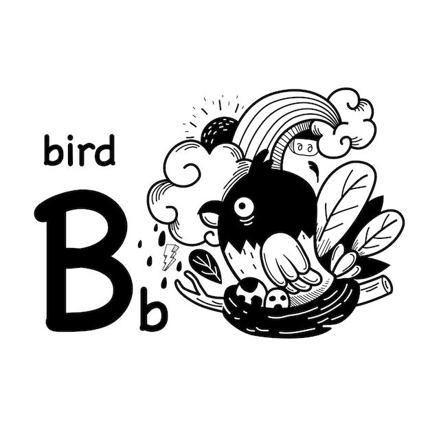 Alfabet letter b vogel in de hand getekend Premium Vector