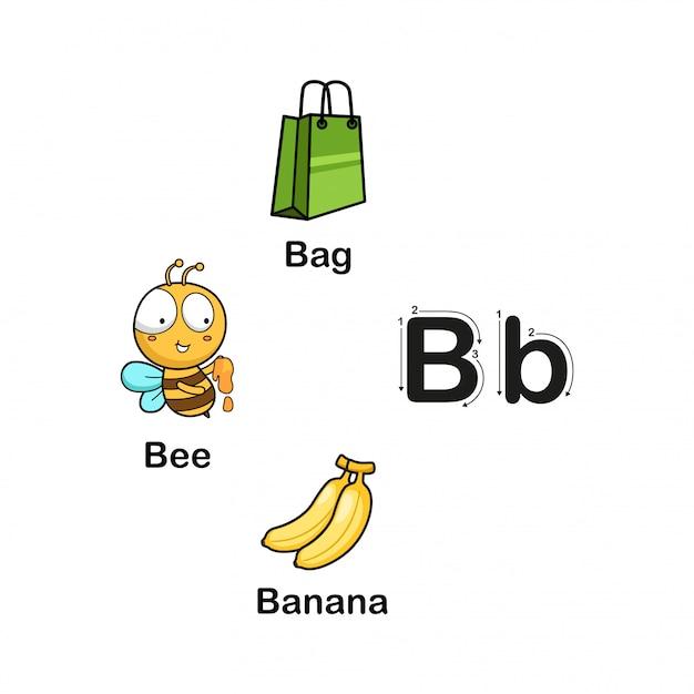 Alfabet letter b Premium Vector