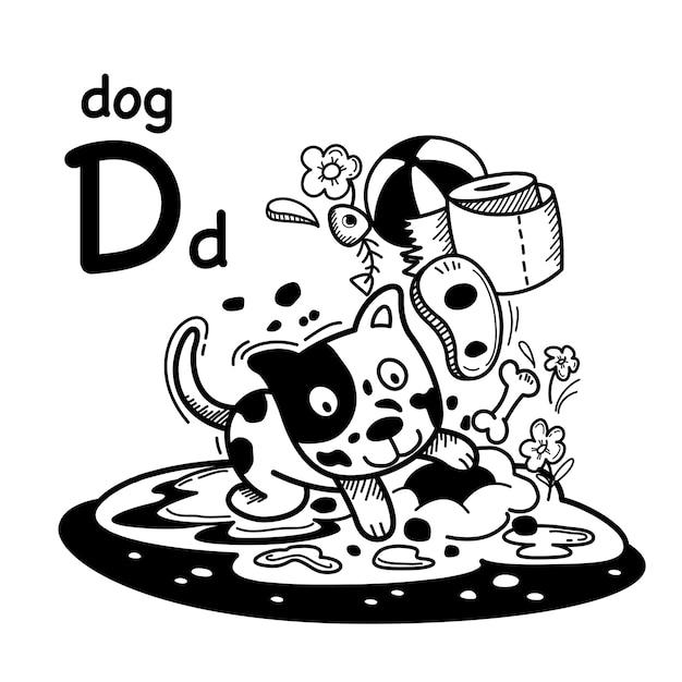 Alfabet letter d hond in de hand getekend Premium Vector