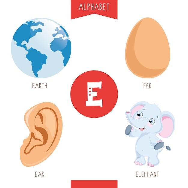 Alfabet letter e en afbeeldingen Premium Vector