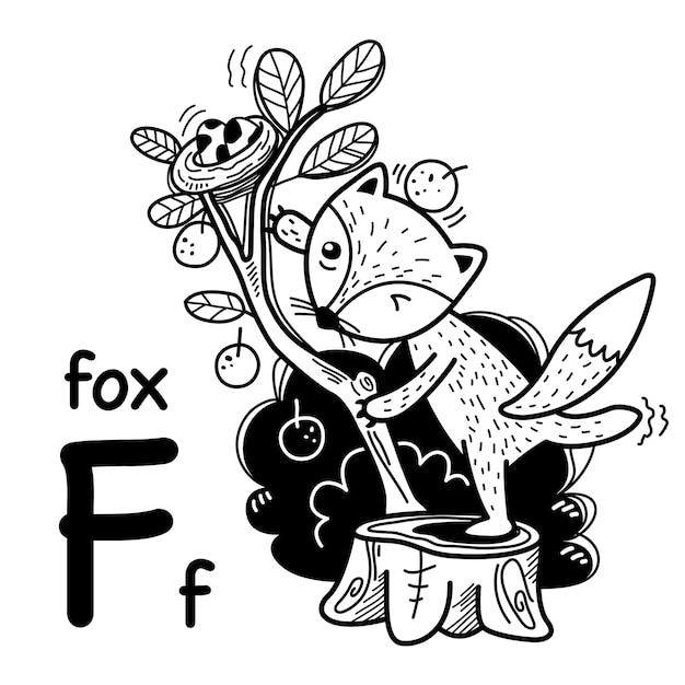 Alfabet letter f fox in de hand getrokken Premium Vector
