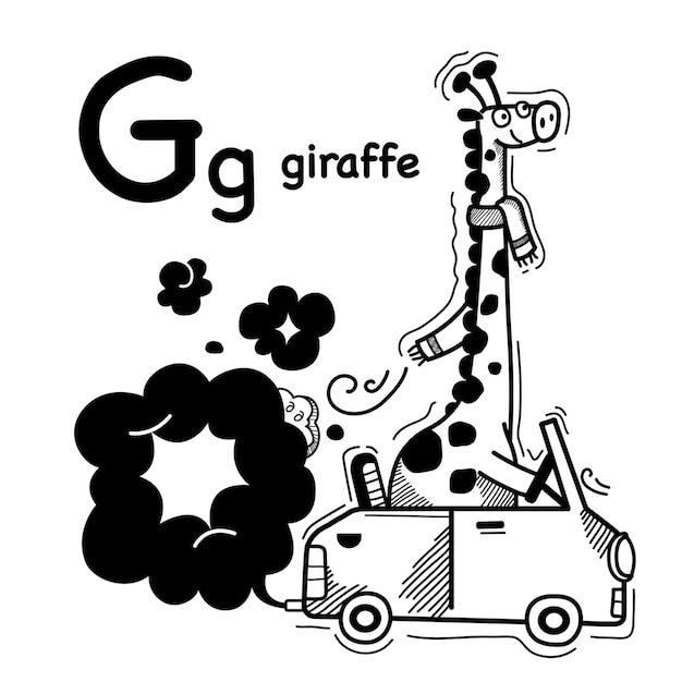 Alfabet letter g giraffe in de hand getekend Premium Vector
