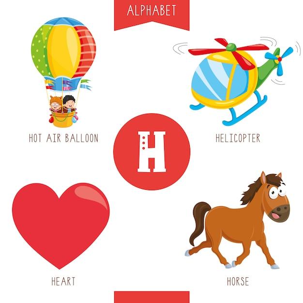 Alfabet letter h en afbeeldingen Premium Vector