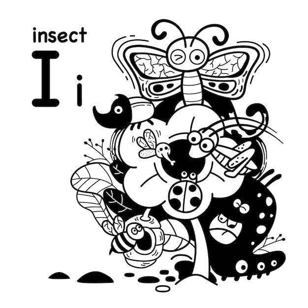 Alfabet letter i insect in de hand getrokken Premium Vector