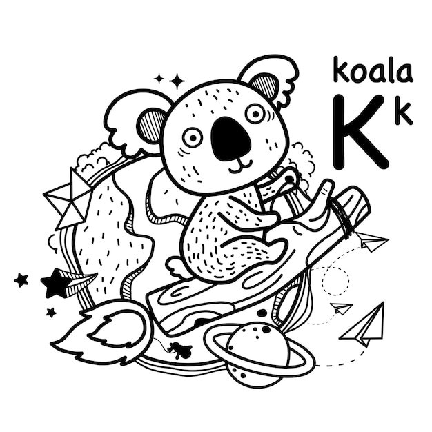Alfabet letter k koala in de hand getekend Premium Vector