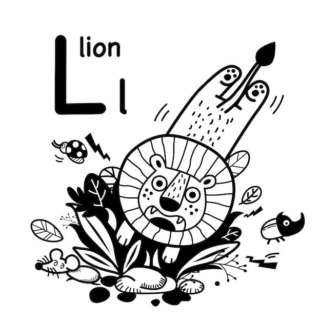 Alfabet letter l leeuw in de hand getrokken Premium Vector
