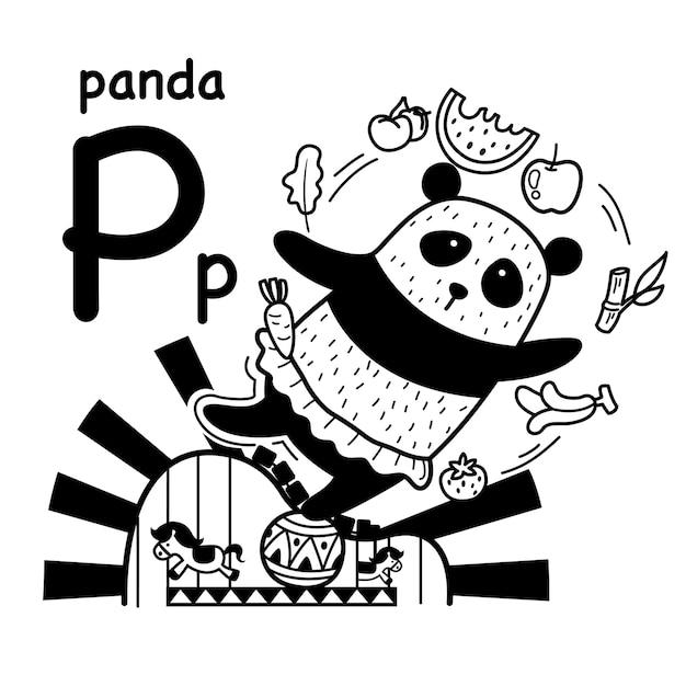 Alfabet letter panda in de hand getrokken Premium Vector