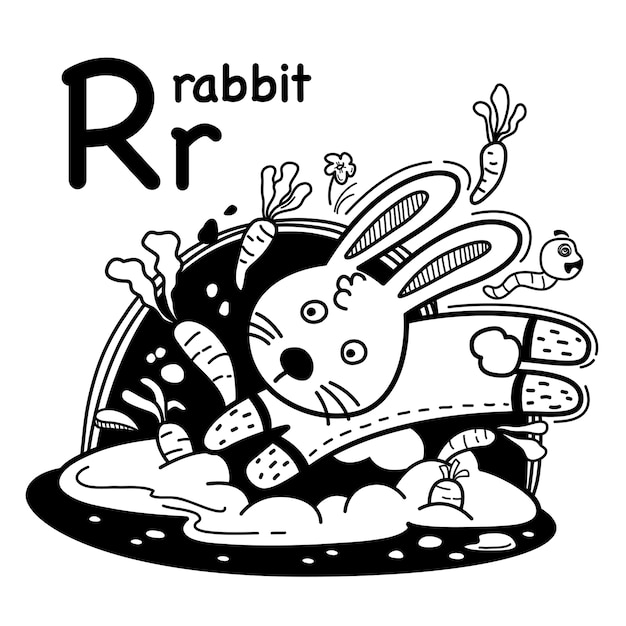 Alfabet letter r konijn in de hand getrokken Premium Vector
