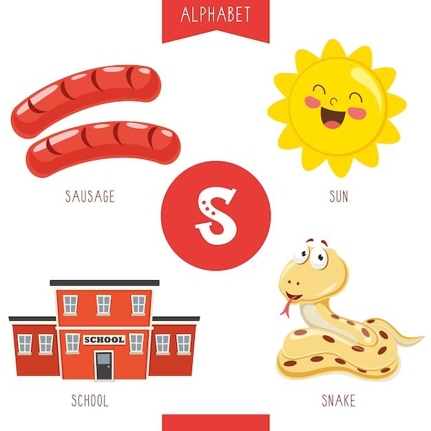 Alfabet letter s en afbeeldingen Premium Vector