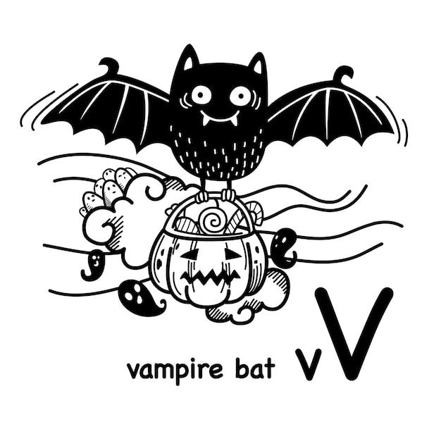 Alfabet letter v vampier in de hand getrokken Premium Vector