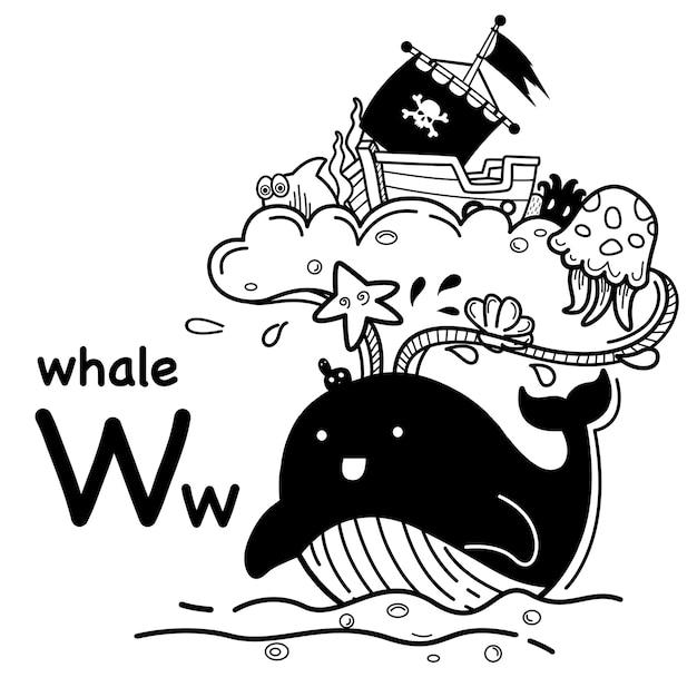 Alfabet letter w walvis in de hand getrokken Premium Vector