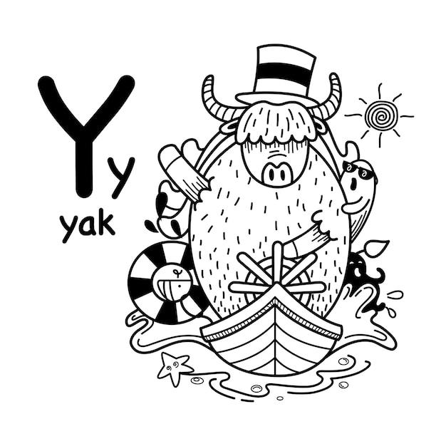 Alfabet letter y jak in de hand getrokken Premium Vector