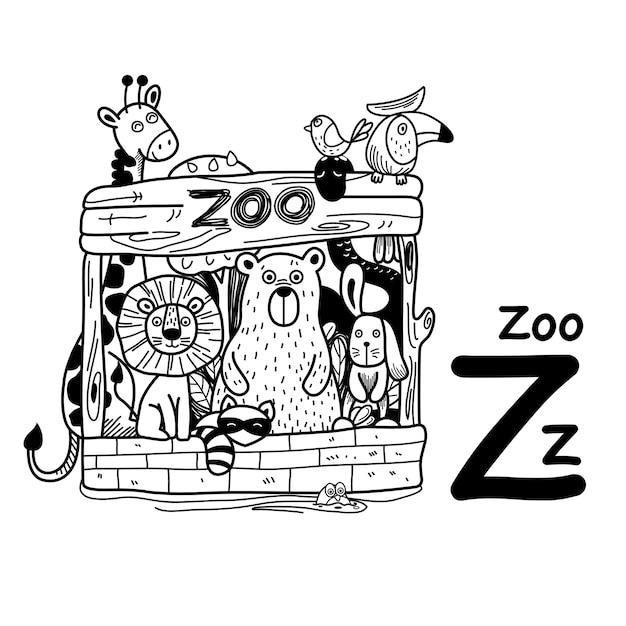 Alfabet letter z dierentuin in de hand getekend Premium Vector