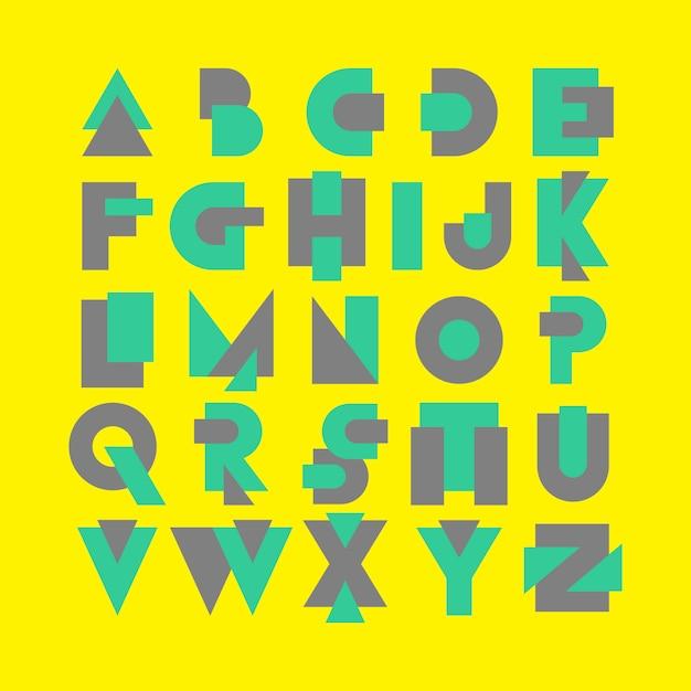 Alfabet lettertype logo moderne memphis set Premium Vector