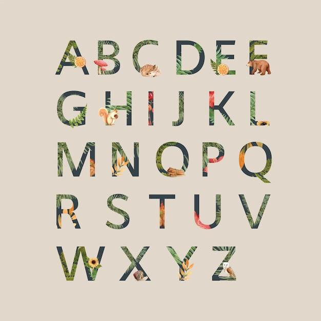 Alfabet met herfstthema Gratis Vector
