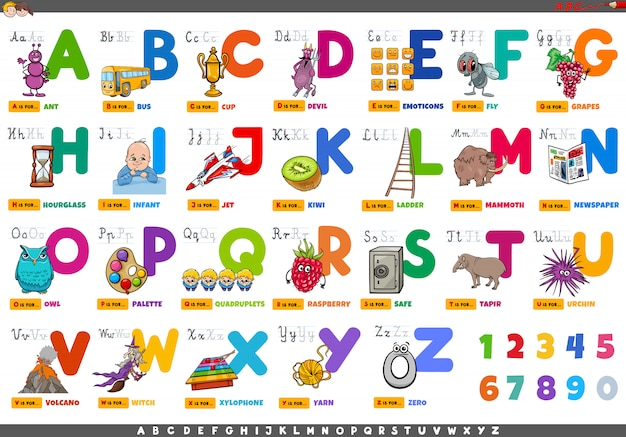 Alfabet met stripfiguren en objecten instellen Premium Vector