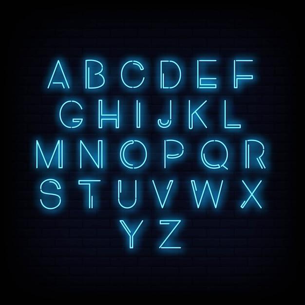 Alfabet neon teken vector Premium Vector
