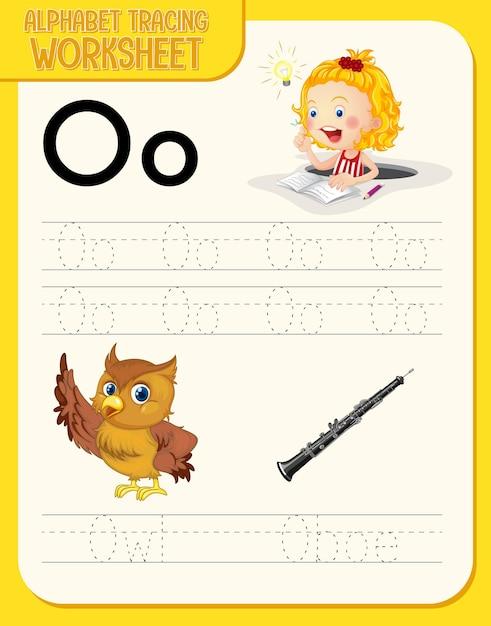 Alfabet overtrekwerkblad met de letter o en o Gratis Vector