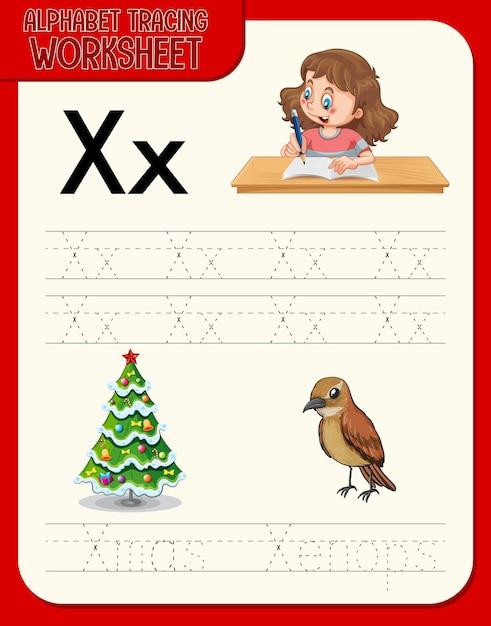 Alfabet overtrekwerkblad met de letter x en x Gratis Vector