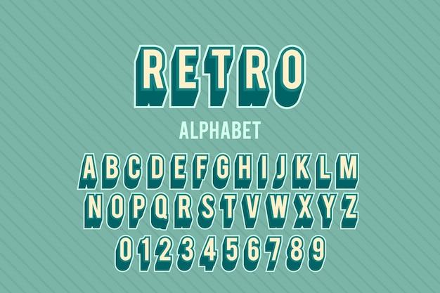 Alfabet van a tot z in 3d retro thema Gratis Vector