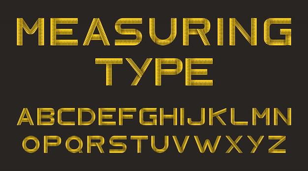 Alfabet van gele meetlint Gratis Vector