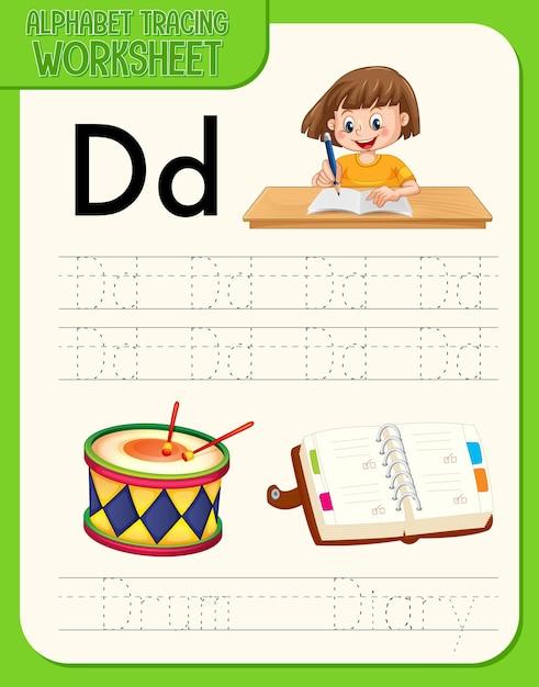 Alfabet werkblad met letter en woordenschat Gratis Vector