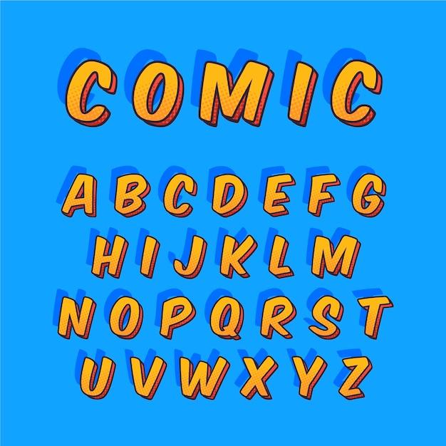 Alfabetformulering van a tot z in 3d strip Gratis Vector
