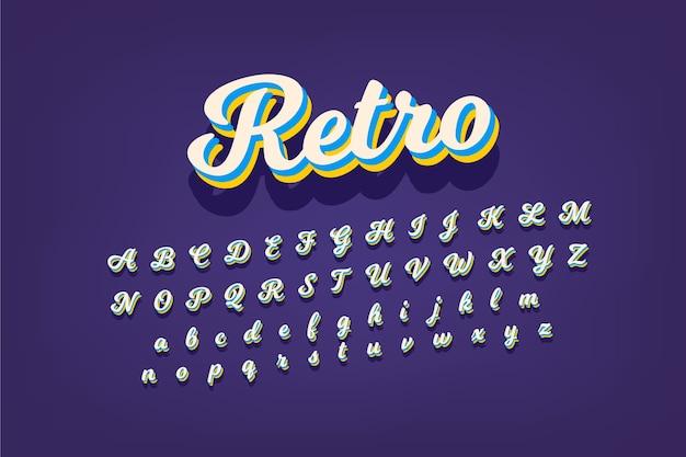 Alfabetinzameling in 3d retro ontwerp Gratis Vector