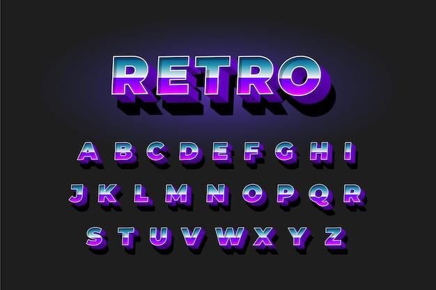 Alfabetinzameling in 3d retro stijl Gratis Vector
