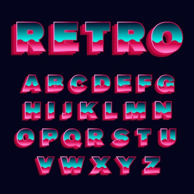 Alfabetinzameling in 3d retro thema Premium Vector