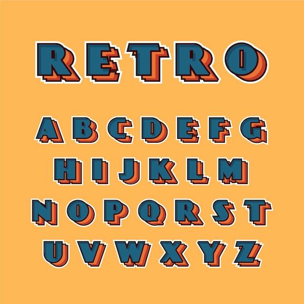 Alfabetinzameling in 3d retro Gratis Vector