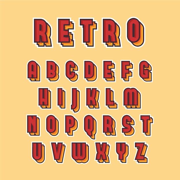 Alfabetinzameling van a tot z in 3d retro ontwerp Gratis Vector