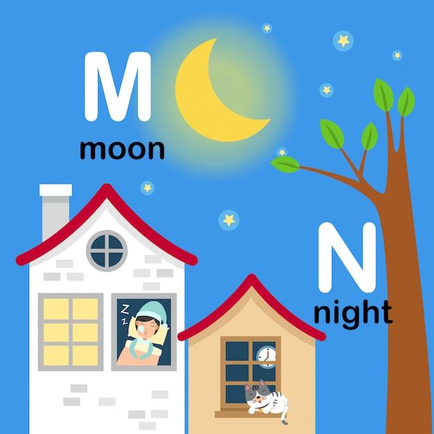 Alfabetletter m voor maan, n voor nacht, illustratie Premium Vector
