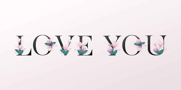 Alfabetletters met aquarel bloemen op zachte roze achtergrond. mooi typografisch ontwerp