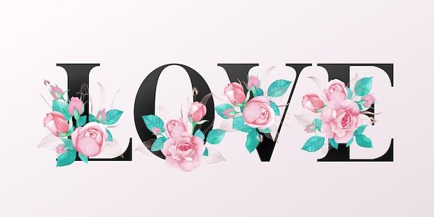 Alfabetletters met aquarel bloemen Premium Vector
