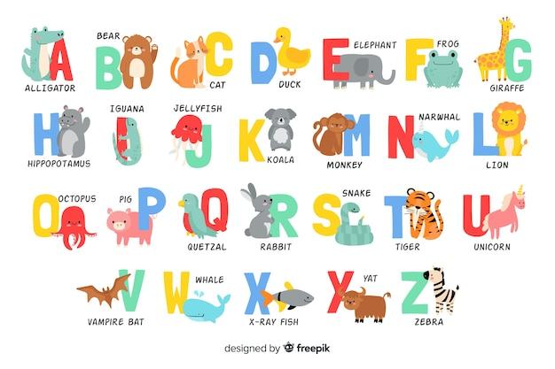 Alfabetletters van dieren vormen Gratis Vector