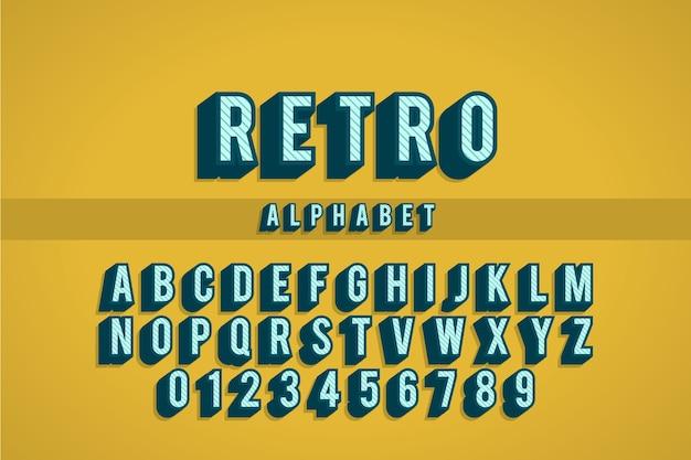 Alfabetverzameling van a tot z in 3d retro Gratis Vector