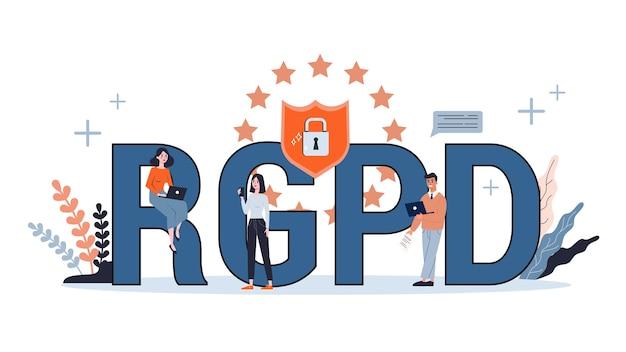 Algemene verordening gegevensbescherming. cyber veiligheidsconcept. idee van digitale gegevensbescherming en veiligheid. toegang tot informatie via wachtwoord. gdpr-systeem. illustratie Premium Vector