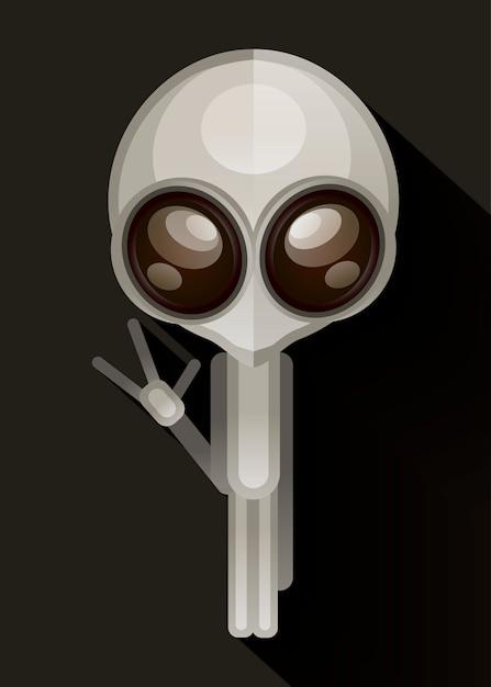 Alien hand getrokken vectorillustratie. Premium Vector