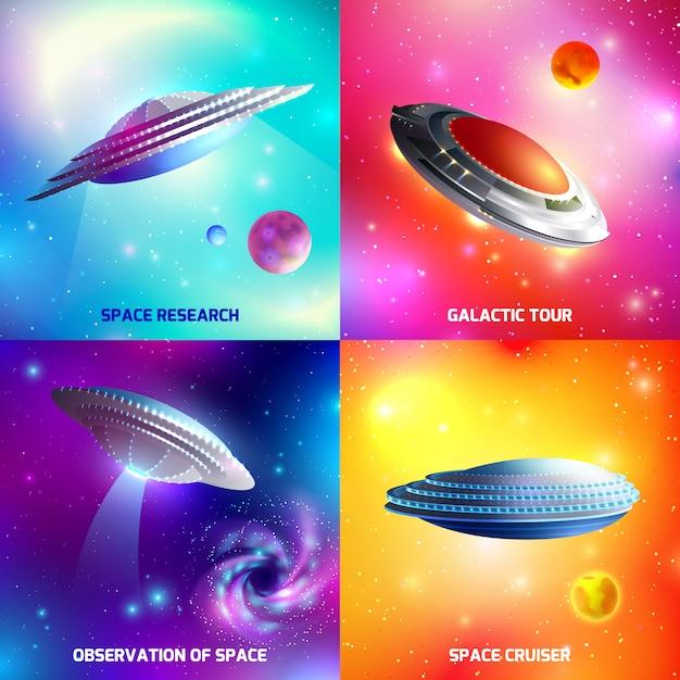 Alien ruimteschip ontwerpconcept Gratis Vector