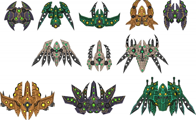 Alien spaceship sprites Premium Vector