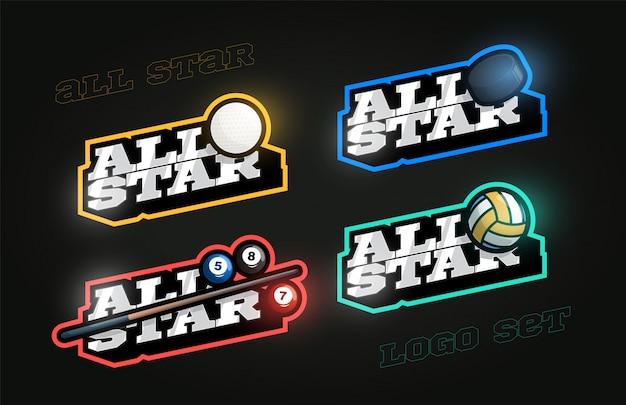 All star retro-stijl sport logo set Premium Vector