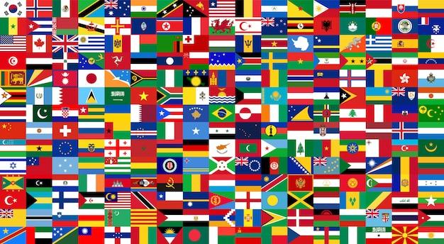Alle nationale vlaggen van de wereld. achtergrondstijl Premium Vector