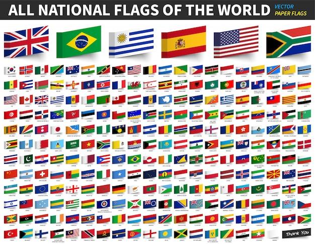 Alle nationale vlaggen van de wereld. ontwerp van de vlag van klevend papier Premium Vector