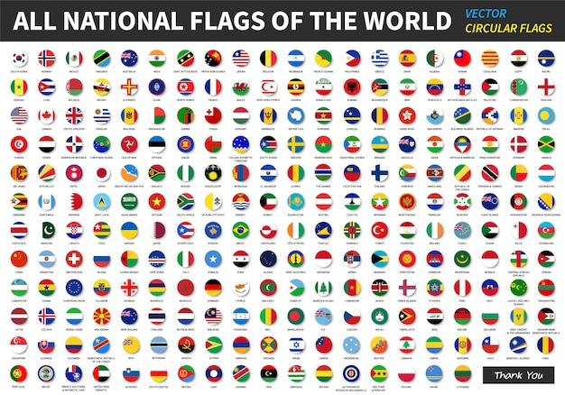 Alle officiële nationale vlaggen van de wereld. Premium Vector