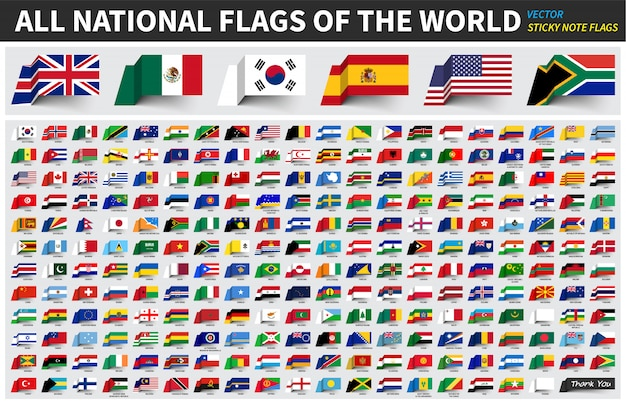 Alle officiële nationale vlaggen van de wereld Premium Vector