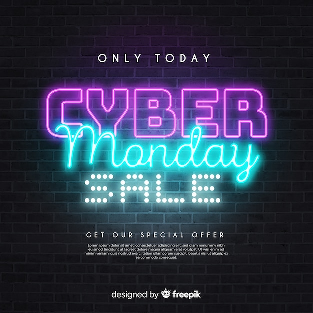 Alleen vandaag cybermaandagverkoop in neonstijl Gratis Vector