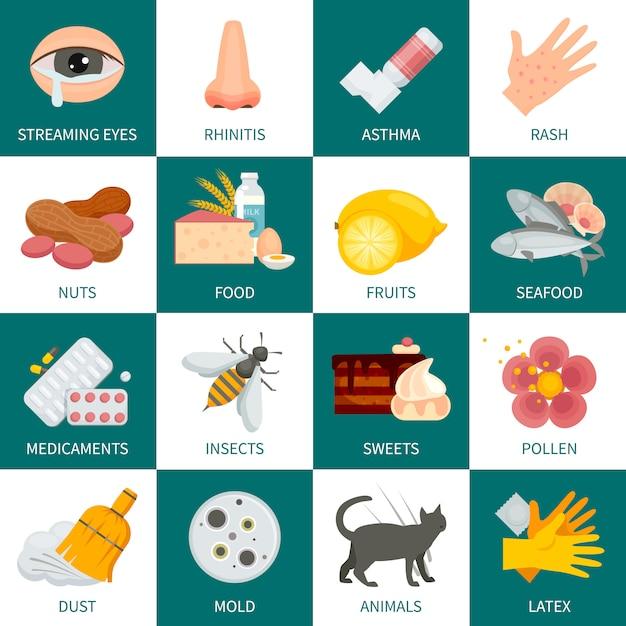 Allergie achtergrond. allergie vectorillustratie. allergie platte symbolen. allergie ontwerpset. allergie geïsoleerde reeks. Premium Vector