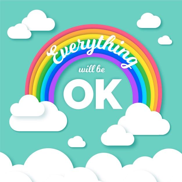 Alles komt goed belettering met kleurrijke regenboog Gratis Vector